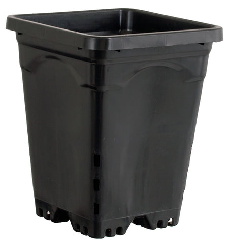 "Active Aqua 7"" x 7"" Square Black Pot, 9"" Tall, case of 50"