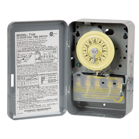 Intermatic Heavy-Duty 24-Hour Timer, 40A/120V-480V