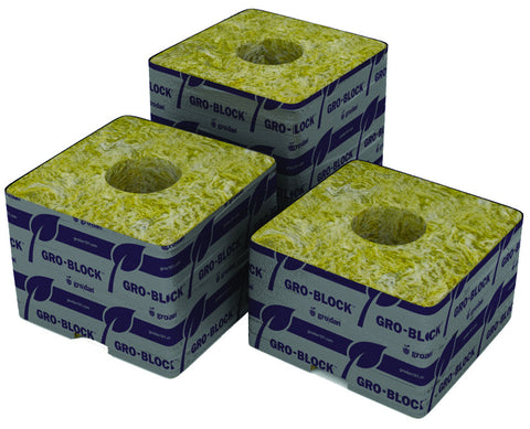 "Grodan Delta 8 Block, 4"" x 4"" x 3"", with hole, case of 180"