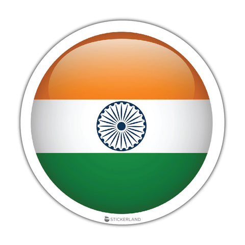 Flag of India Sticker - Round, Glass-effect