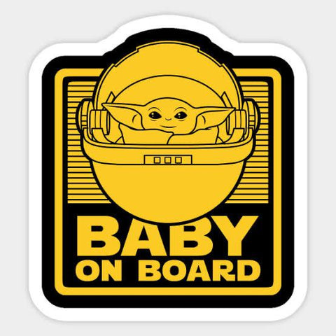 Baby Yoda Baby On Board Car Sticker - Yellow