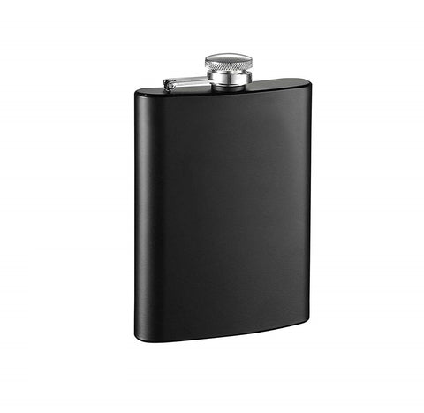 Black Stainless Steel Hip Flask - 8oz