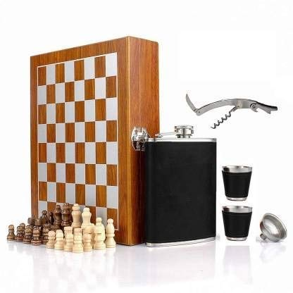 Leather Hip Flask with Chess and Bottle Opener Gift Set