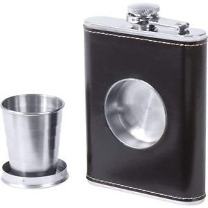 Hip Flask with a Built-in Collapsible Shot Glass 8 Oz Brown