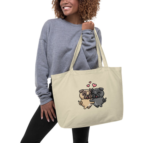 """Pug Love"" - Organic Tote Bag"