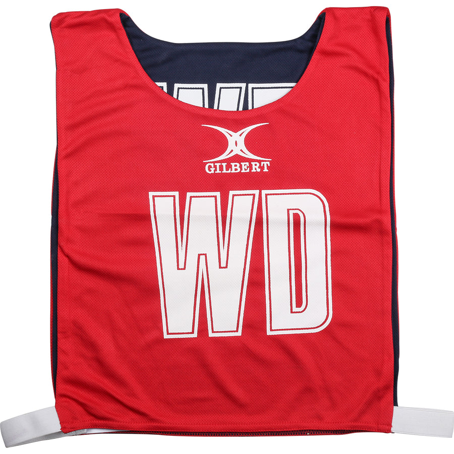 NCEA14NetballBibs Reversible Red Navy Bib