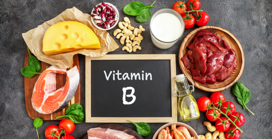 Sources of vitamin B, such as meat and fish