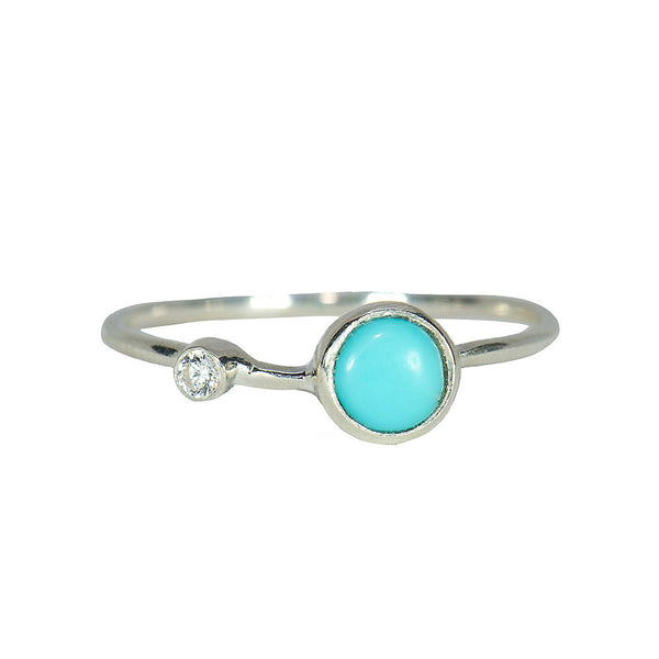 Turquoise Double Stone Silver Ring