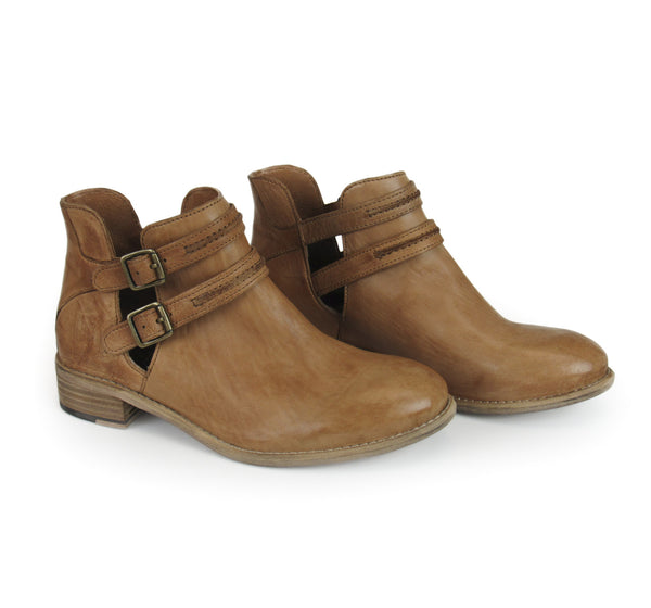 Tobacco Belted Leather Booties