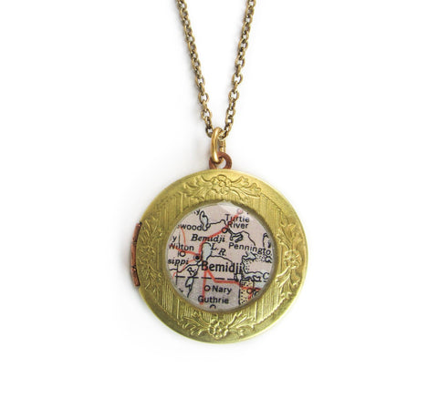 Bemidji Brass Locket Necklace