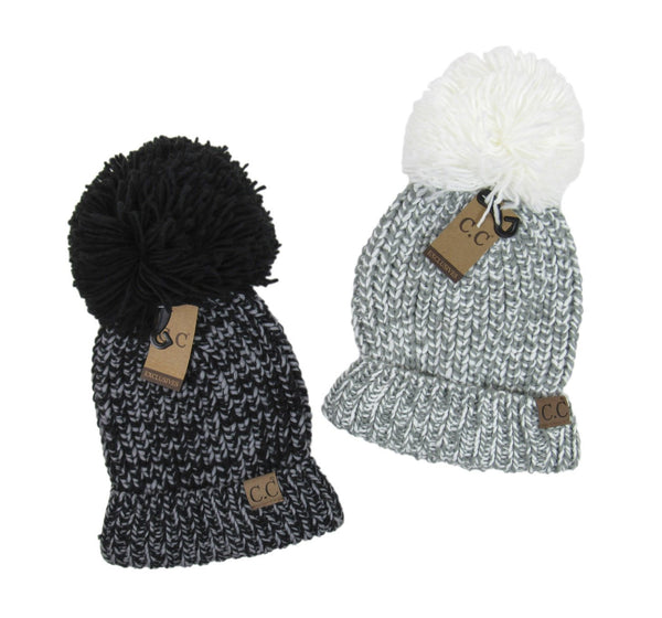 Chunky Mix Color Pom Hat