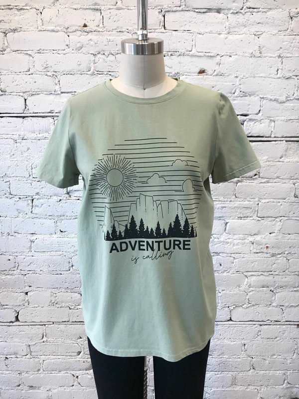 """Adventure Is Calling"" Graphic tee-T Shirt-Yellow Umbrella"