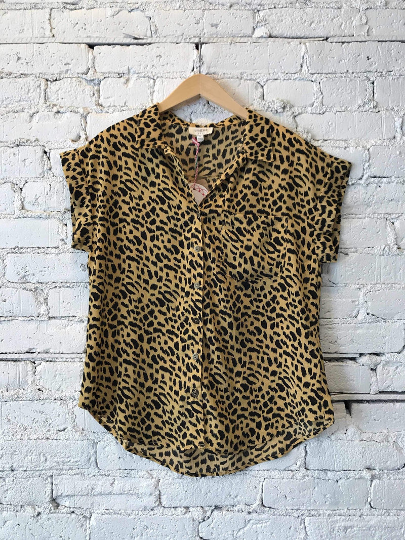Animal Printed Collard Top - Honey Mix-Top-Yellow Umbrella