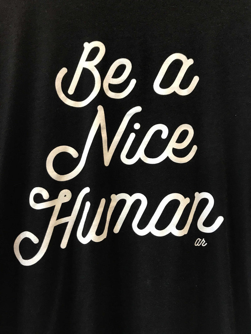 'Be A Nice Human' Graphic Tee - Black-Graphic Top-Yellow Umbrella