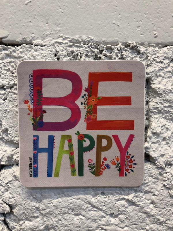 """Be Happy"" Sticker-sticker-Yellow Umbrella"
