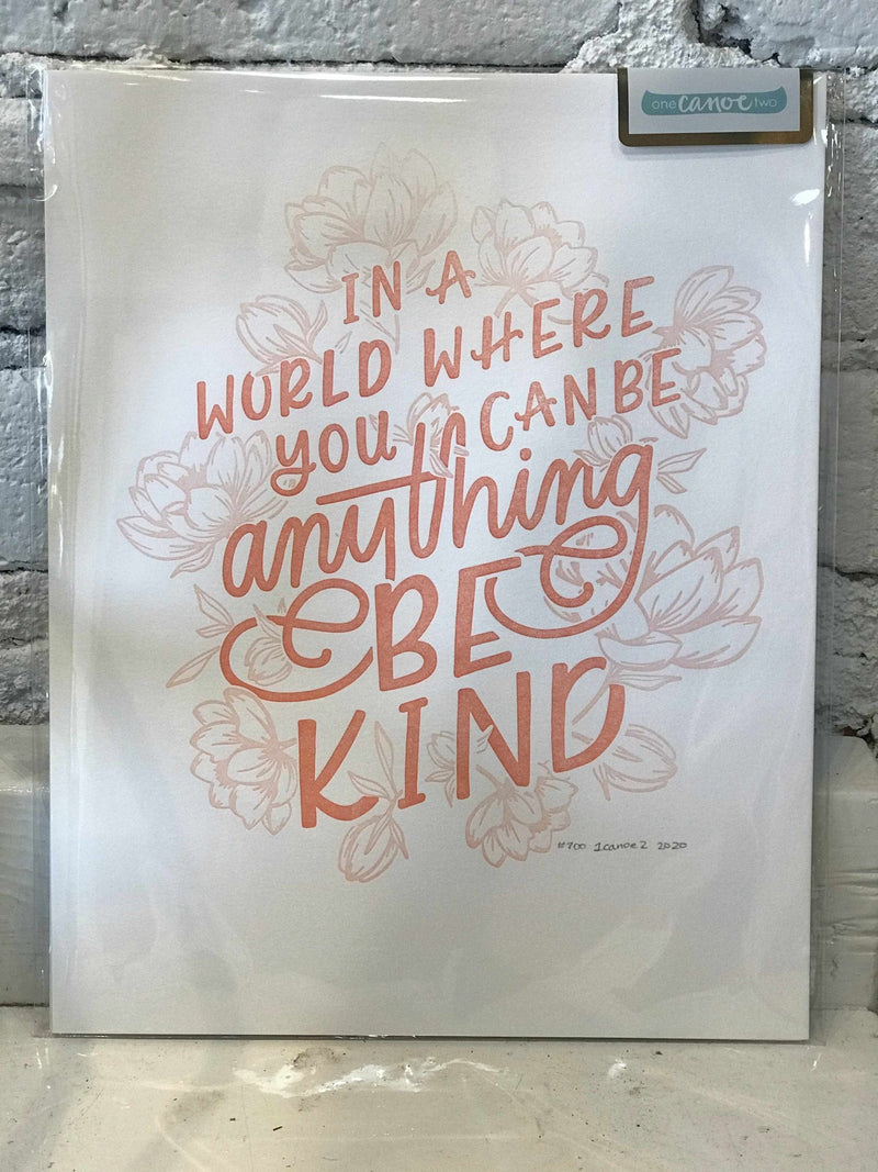 Be Kind Letterpress Print-print-Yellow Umbrella
