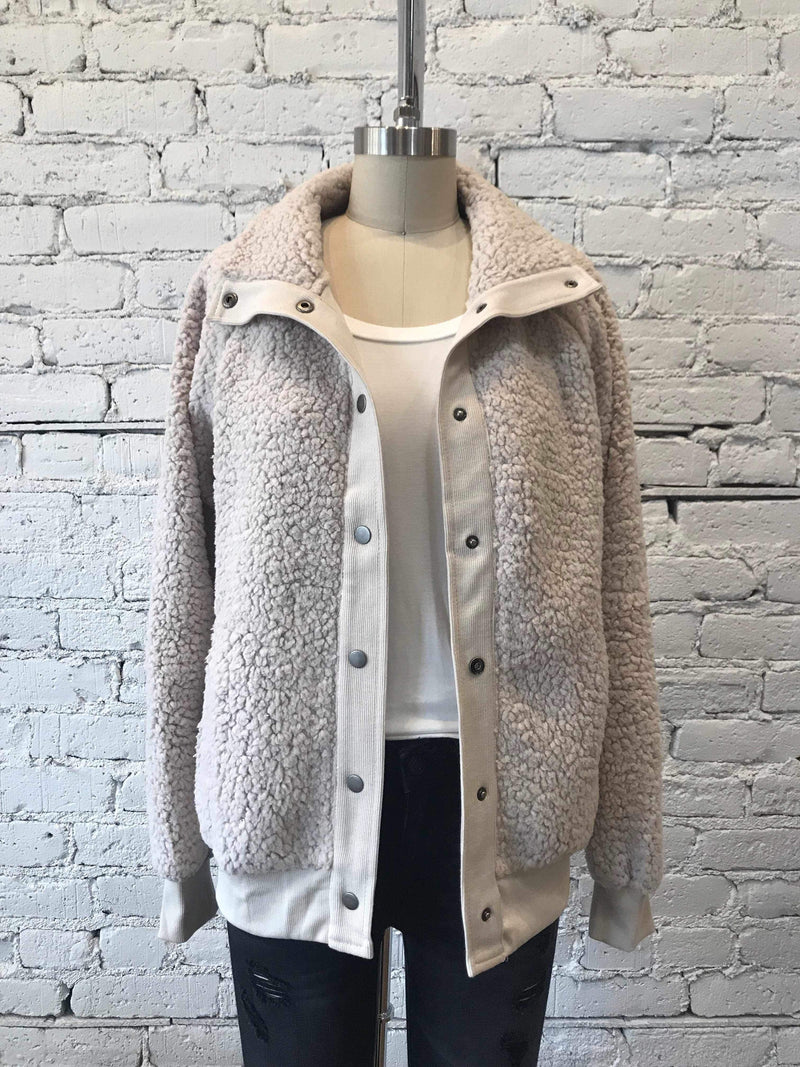 Beige Faux Fur Bomber Jacket-jacket-Yellow Umbrella