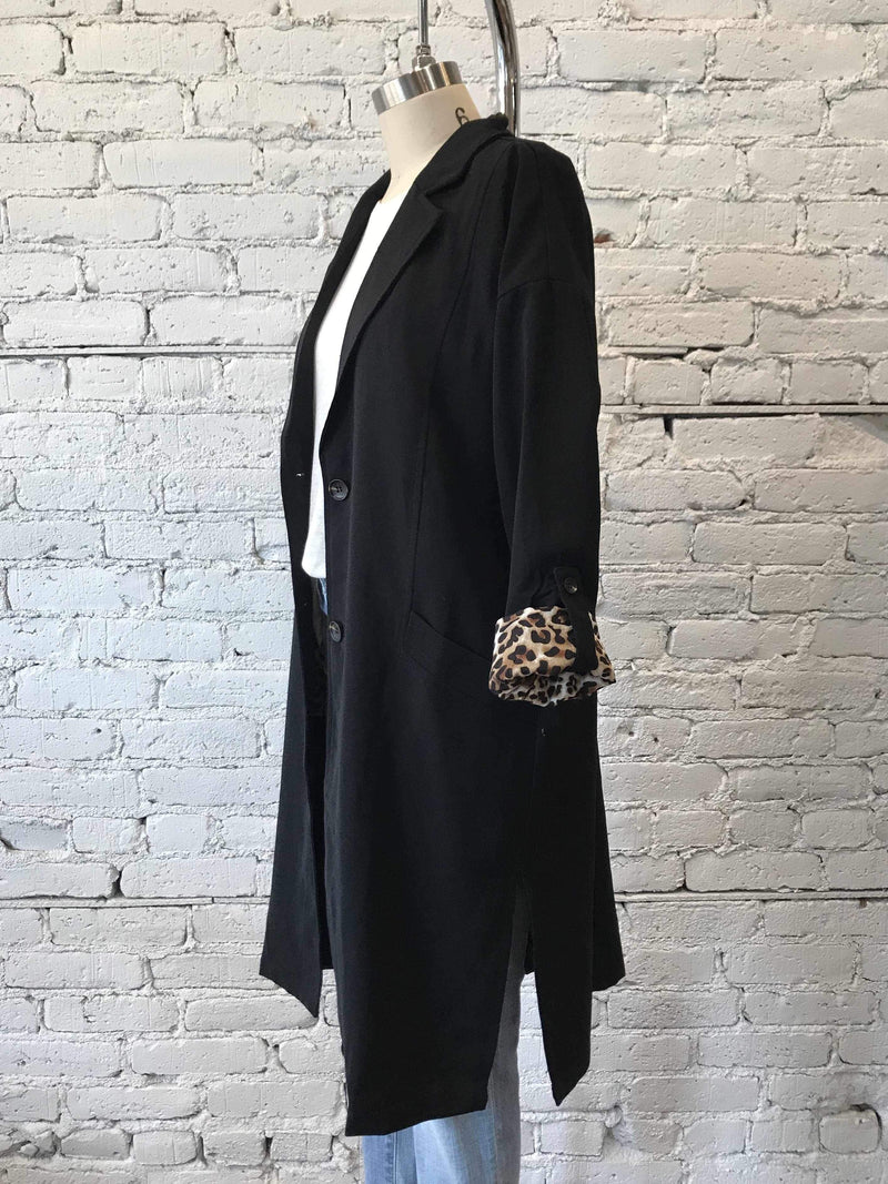 Black Easy Boxy Coat-jacket-Yellow Umbrella