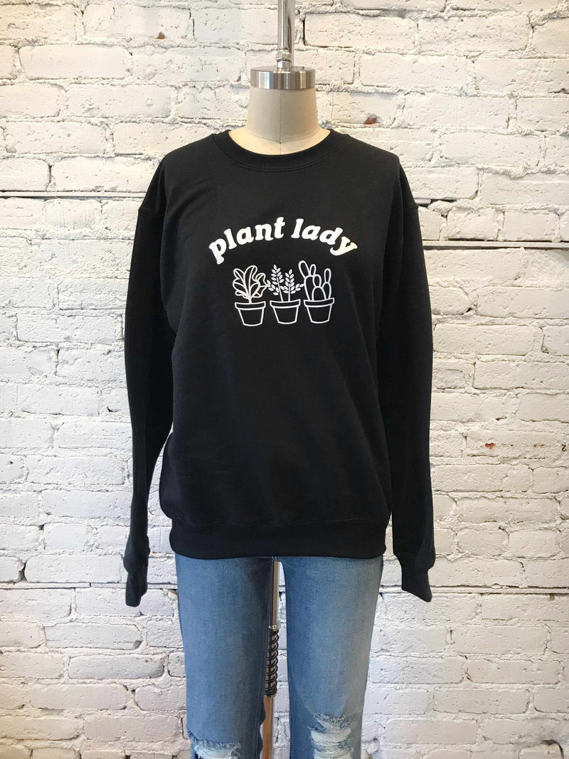 Black Plant Lady Crewneck-crewneck-Yellow Umbrella