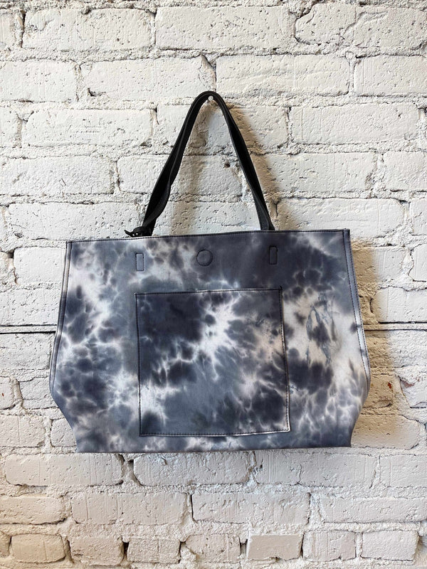 Black Tie Dye Classic Reversible Canvas Tote-handbag-Yellow Umbrella