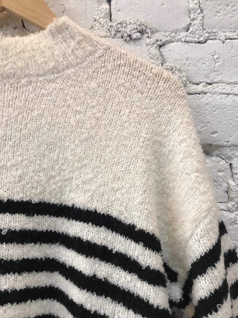 Black & White Striped Mock Neck Sweater-Sweater-Yellow Umbrella