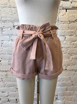 Blush Denim Paperbag Shorts-Shorts-Yellow Umbrella