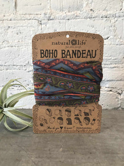 Boho Bandeau Grey and Blue Zigza-Hair Accessories-Yellow Umbrella