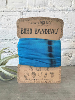 Boho Bandeau tie-dye Turquoise Blue-Hair Accessories-Yellow Umbrella