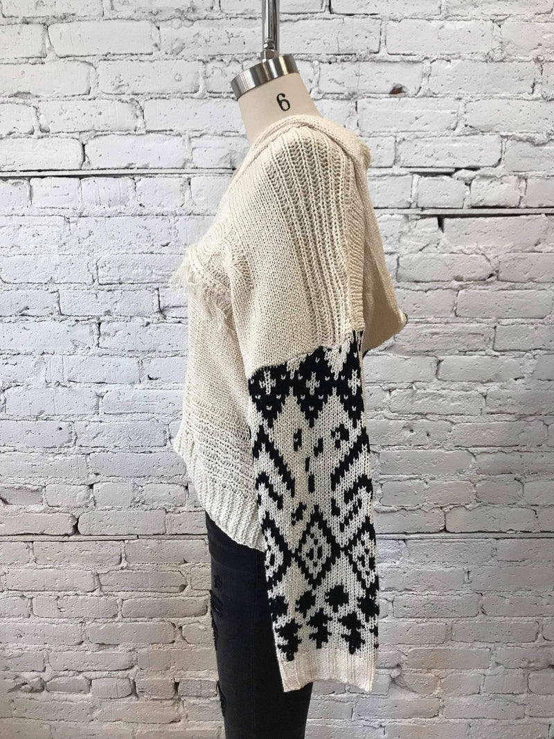 Boho Patterned Hooded Sweater - Cream/Black-Sweater-Yellow Umbrella