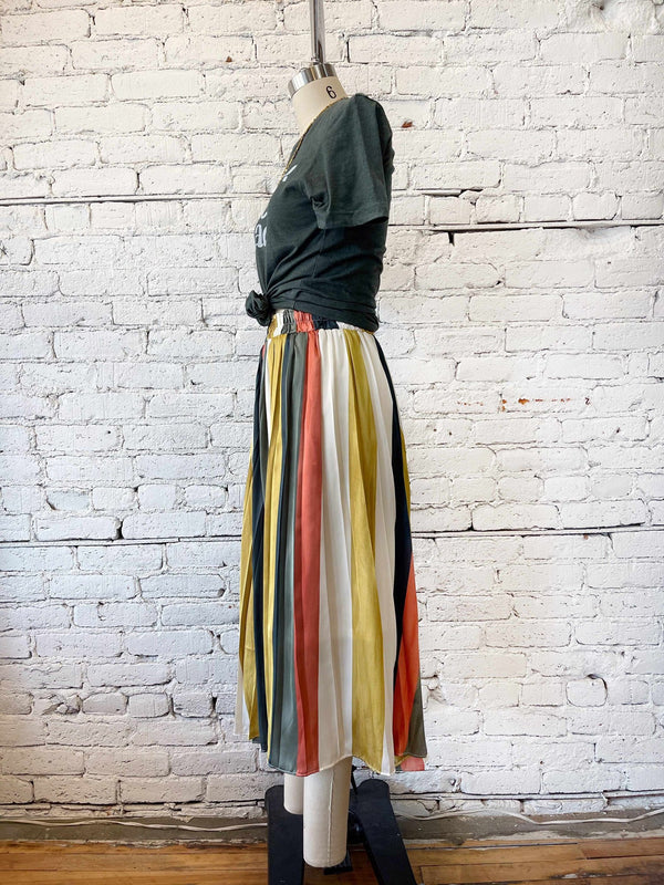 Boho Stripe Midi Skirt-Skirt-Yellow Umbrella
