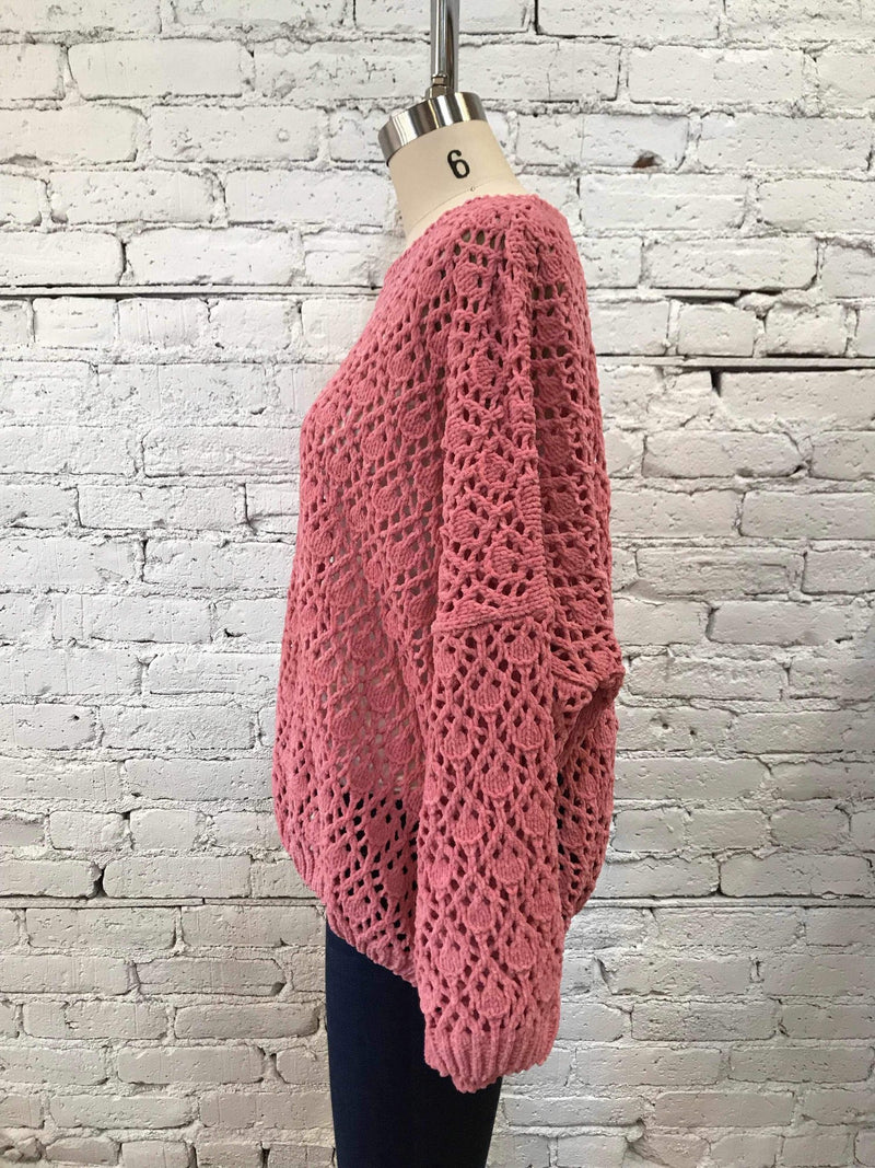 Bubblegum Pink Open-Knit Sweater-Sweater-Yellow Umbrella