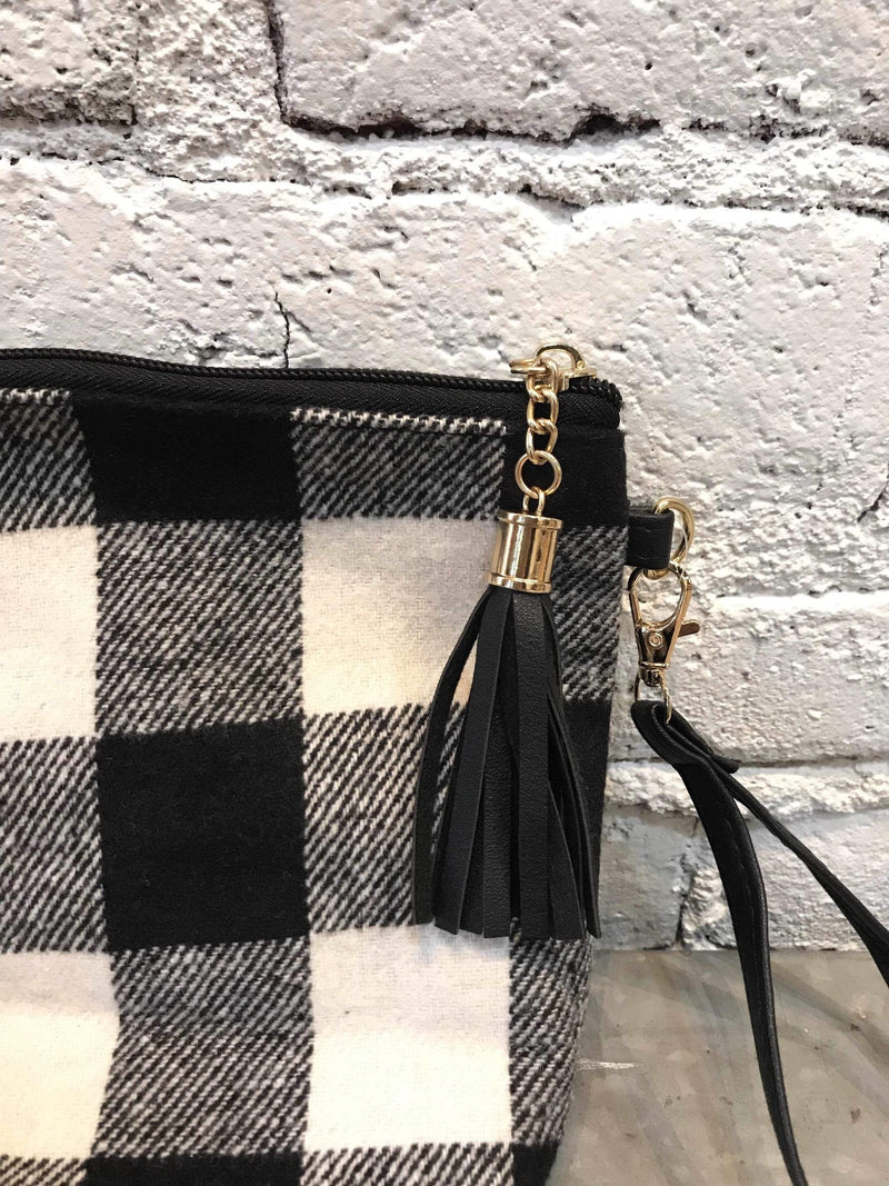 B&W Plaid Pouch-accessory-Yellow Umbrella
