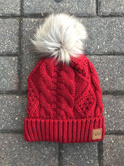 Cable Knit Beanie With Pom-Winter Knits-Yellow Umbrella