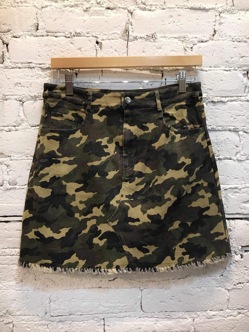 Camo Mini Skirt-Skirt-Yellow Umbrella