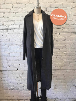 Charcoal Herringbone Long Coat-jacket-Yellow Umbrella