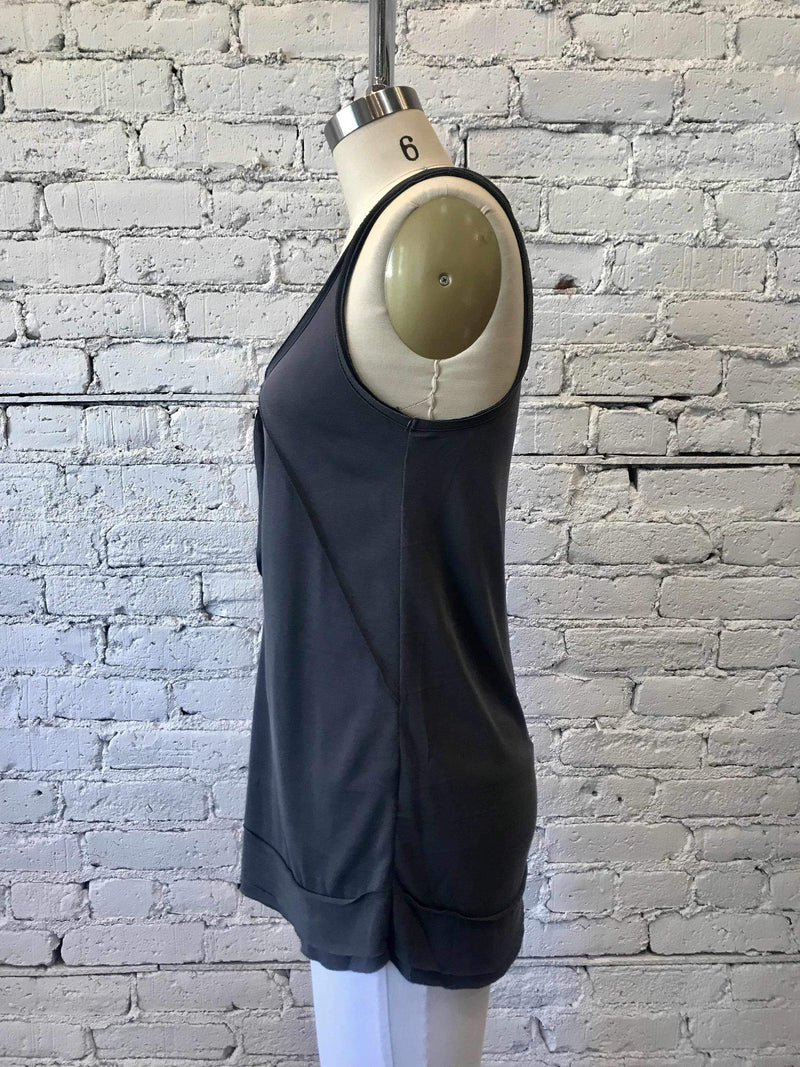 Charcoal Sleeveless Button Knit Top-Tank-Yellow Umbrella