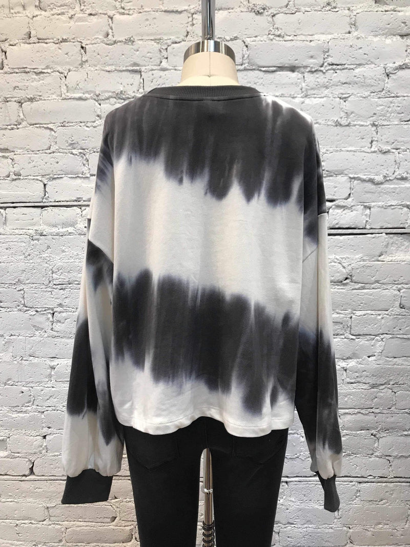 Charcoal & White Tie-Dye Crewneck-shirt-Yellow Umbrella