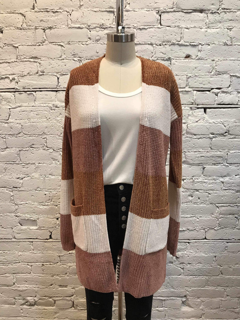 Chenille Color-Block Cardigan - Camel/Mauve-cardigan-Yellow Umbrella