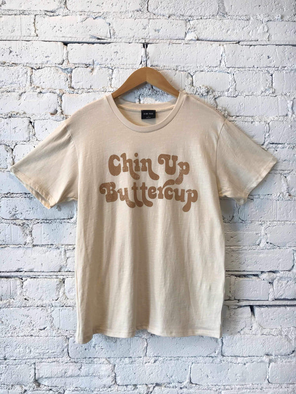Chin Up Buttercup Graphic Tee-Graphic Top-Yellow Umbrella