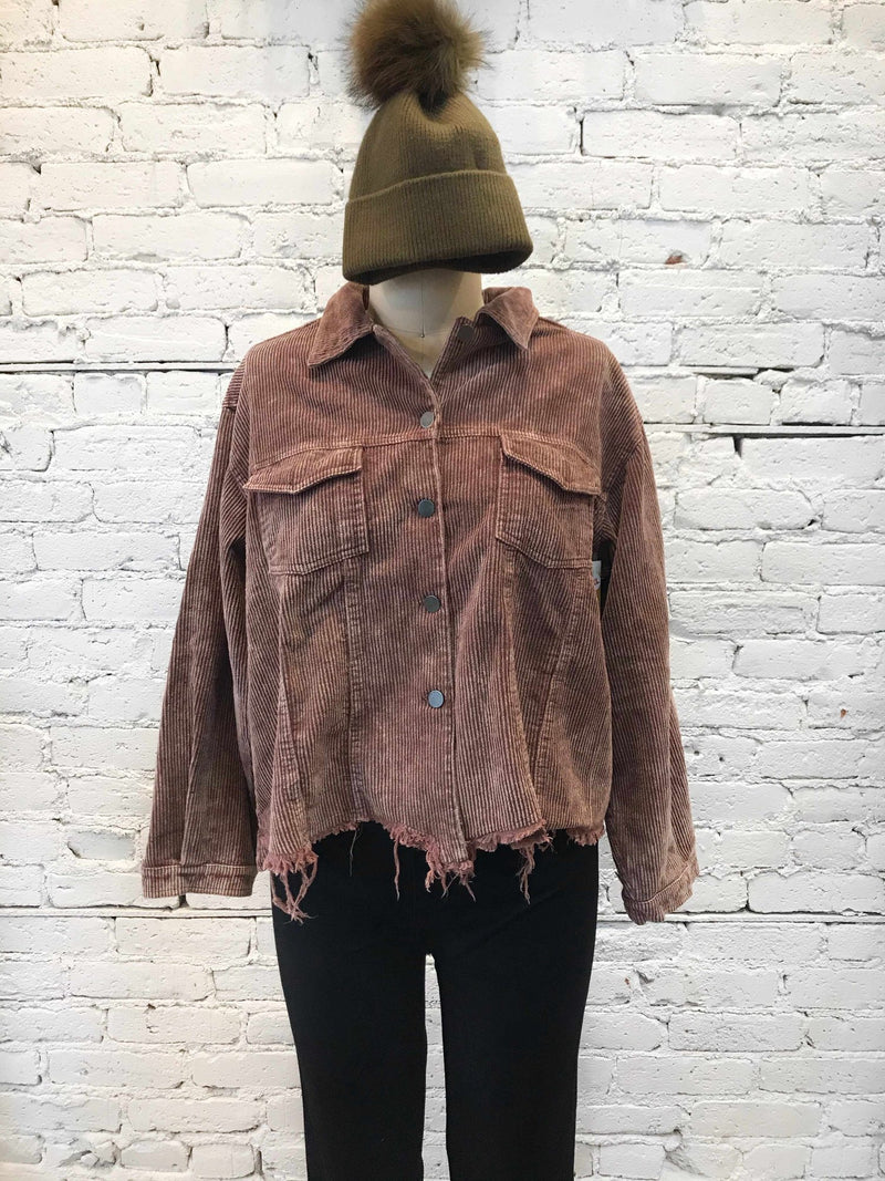 Chocolate Corduroy Jacket / PLUS-jacket-Yellow Umbrella