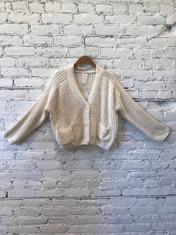 Chunky Knit Crop Cardigan - Ivory-cardigan-Yellow Umbrella