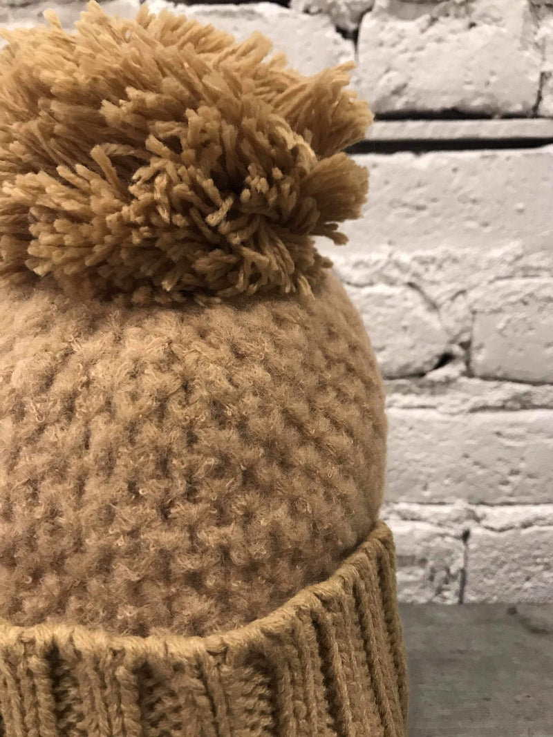 Chunky Knit Pom Hat - Taupe-Hat-Yellow Umbrella