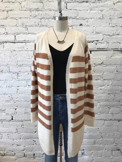 Cinnamon Latte Striped Cardigan-cardigan-Yellow Umbrella