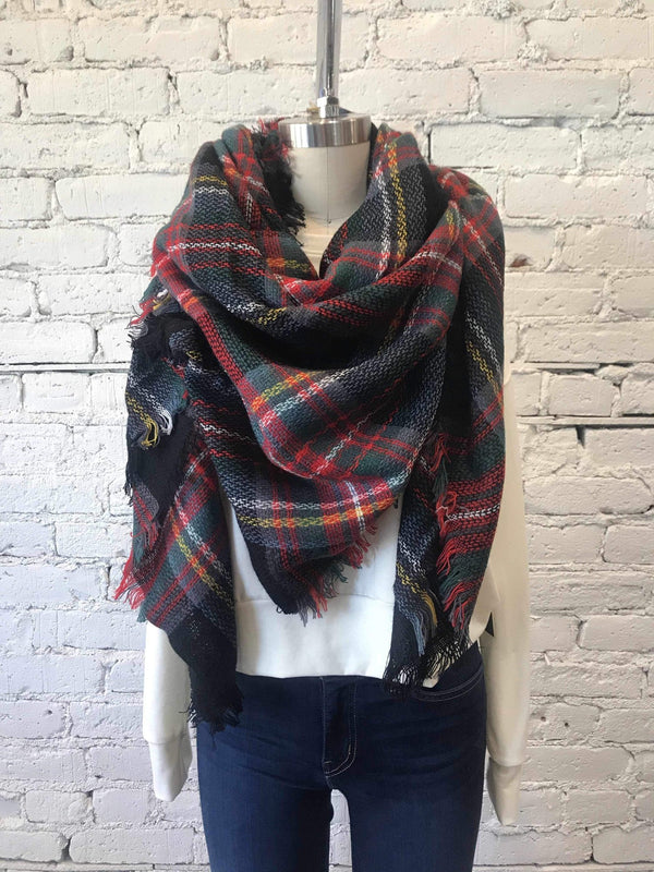 Classic Plaid Blanket Scarf - Blue/Green-Scarf-Yellow Umbrella
