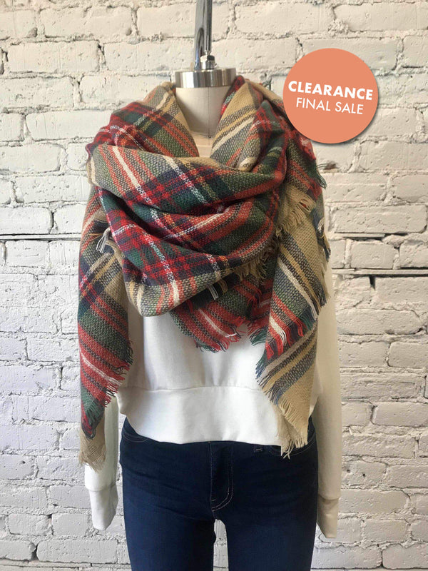 Classic Plaid Blanket Scarf - Khaki-Scarf-Yellow Umbrella