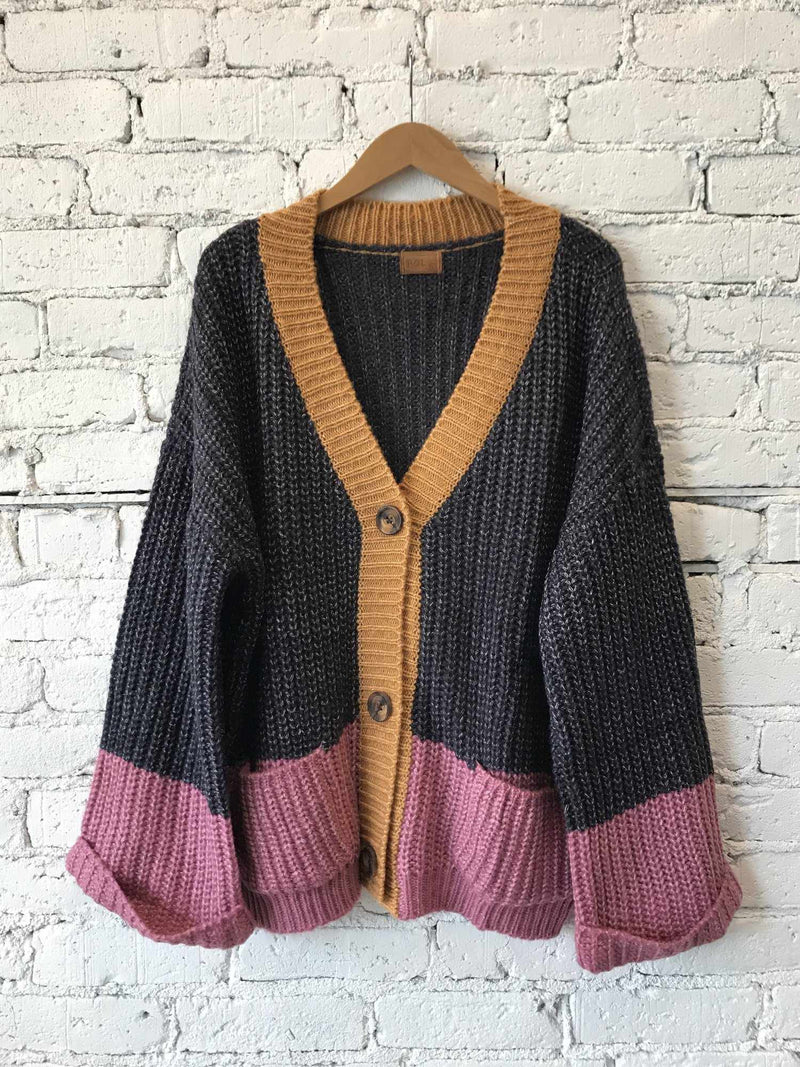 Color-Me-Mine Contrast Cardigan-cardigan-Yellow Umbrella