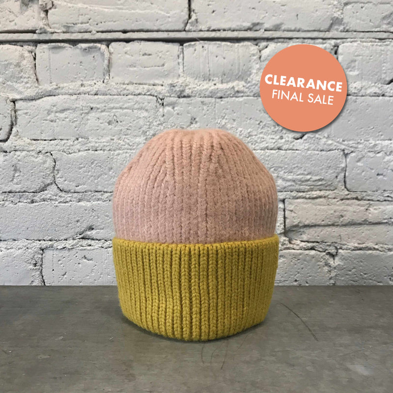 Cotton Candy Two-Tone Beanie-Hat-Yellow Umbrella