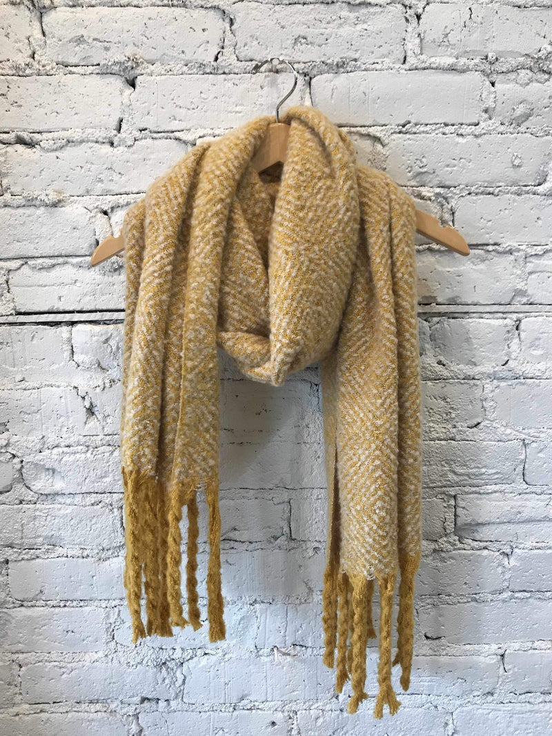 Cozy Mustard Tassel Scarf-Scarf-Yellow Umbrella