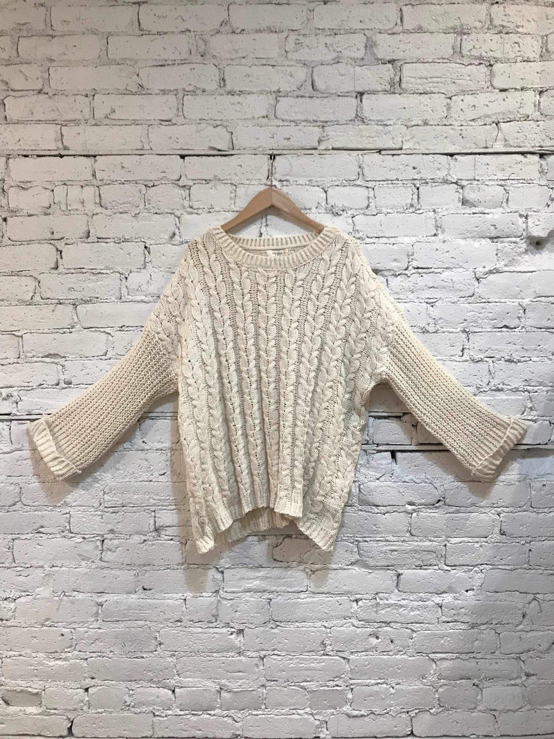 Cream Chenille Cable Knit Sweater-Plus Size Sweater-Yellow Umbrella