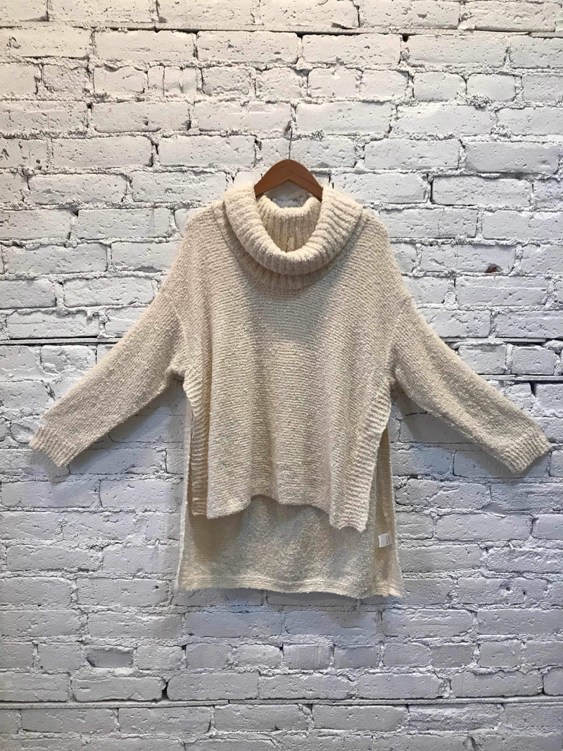 Cream Side-Slit Cowl Neck Sweater-Sweater-Yellow Umbrella